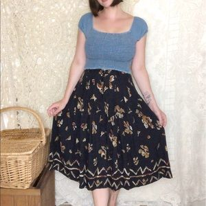Vintage   midi button down floral black skirt